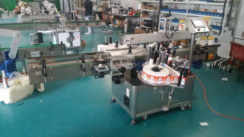 중국 서있는 주머니를위한 자동적 인 병 라벨 붙이는 사람 두 배 옆 스티커 레테르를 붙이는 기계 협력 업체