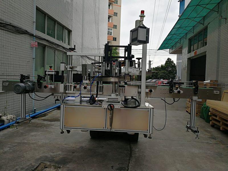 중국 플라스틱 단지를위한 자동적 인 두 배 옆 스티커 레테르를 붙이는 기계 상표 도포 구 협력 업체