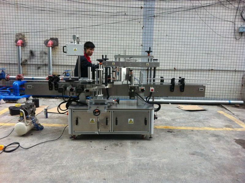 중국 애완 동물 병을위한 가득 차있는 자동적 인 접착 성 둥근 병 레테르를 붙이는 기계 앞뒤로 협력 업체